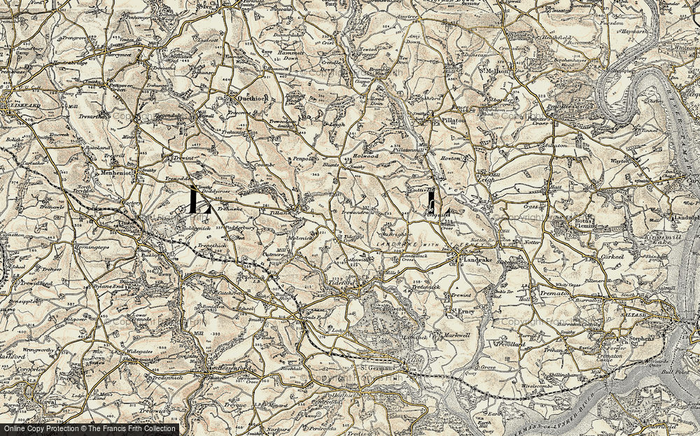 Old Map of Tideford Cross, 1899-1900 in 1899-1900
