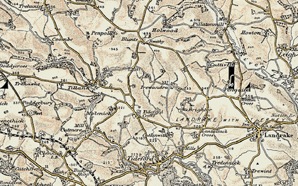 Old map of Tideford Cross in 1899-1900