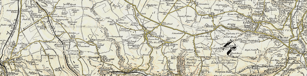 Old map of Tideswell in 1902-1903