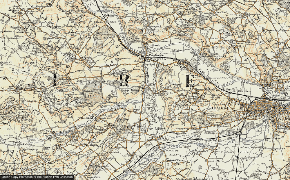 Old Map of Historic Map covering Tidmarsh Manor in 1897-1900