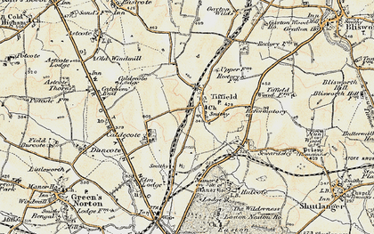Old map of Tiffield in 1898-1901