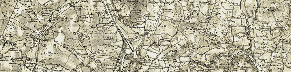 Old map of Tifty in 1909-1910
