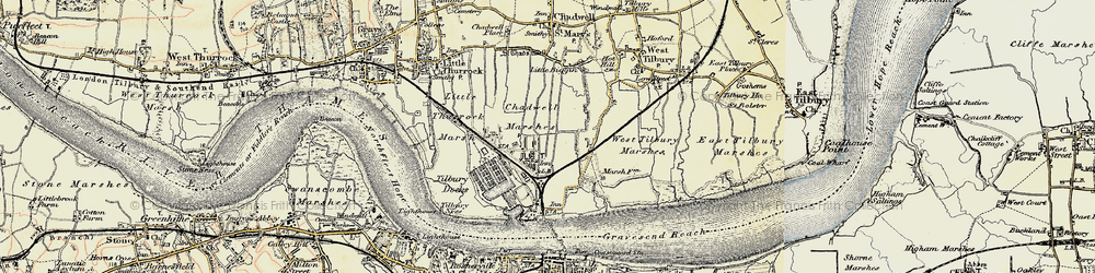Old map of Tilbury in 1897-1898