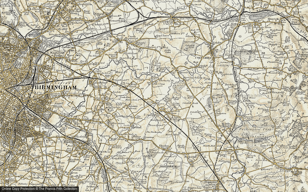 Old Map of Tile Cross, 1901-1902 in 1901-1902