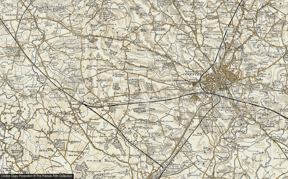 Old Map of Historic Map covering Tilehill Wood in 1901-1902