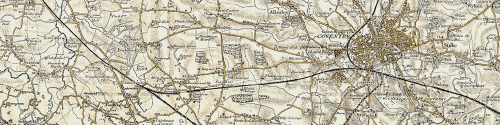 Old map of Tile Hill in 1901-1902