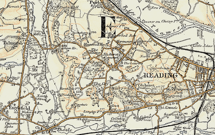 Old map of Tilehurst in 1897-1900