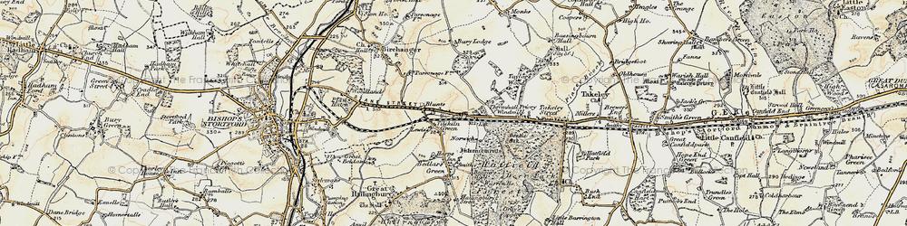 Old map of Tilekiln Green in 1898-1899