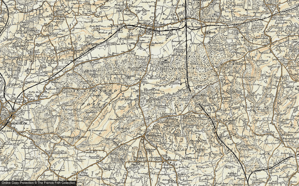 Old Map of Historic Map covering Tilgate Forest in 1898