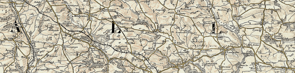 Old map of Tilland in 1899-1900