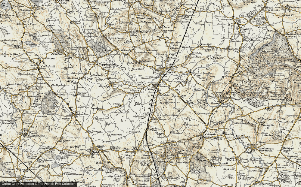 Old Map of Tilley, 1902 in 1902