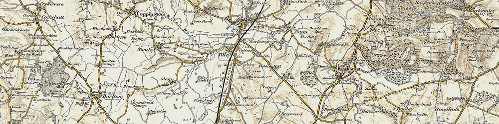 Old map of Tilley Green in 1902