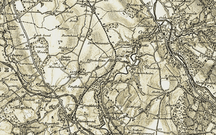 Old map of Tillietudlem in 1904-1905