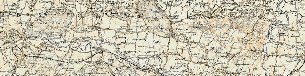 Old map of Tillington Ho in 1897-1900