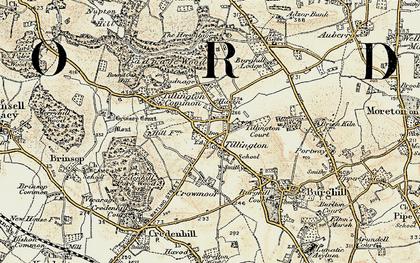 Old map of Tillington in 1900-1901