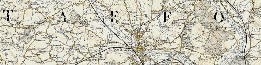 Old map of Tillington in 1902