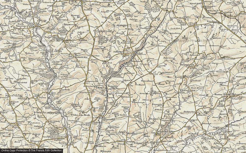 Old Map of Historic Map covering Ashwater Wood in 1900