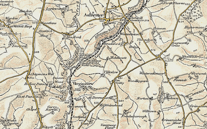 Old map of Ashwater Wood in 1900