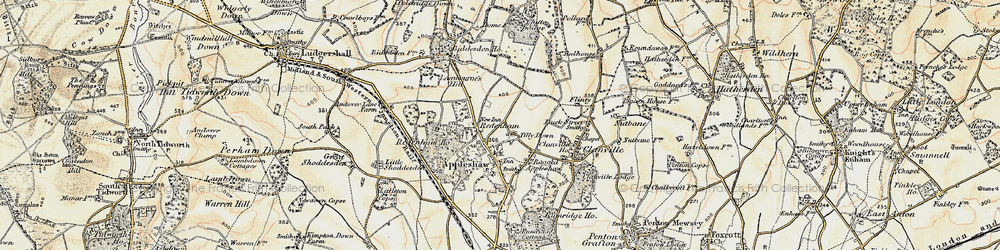 Old map of Tilly Down in 1897-1899