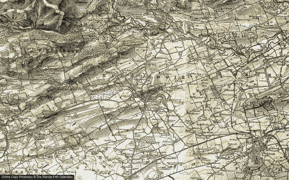 Old Map of Tillyloss, 1907-1908 in 1907-1908