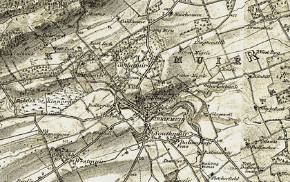 Old map of Tillyloss in 1907-1908
