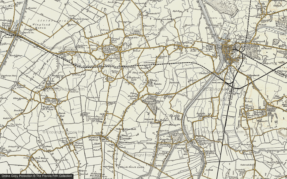 Old Map of Tilney All Saints, 1901-1902 in 1901-1902