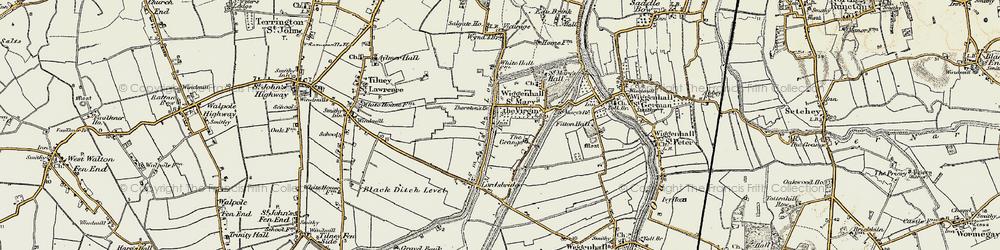 Old map of Tilney cum Islington in 1901-1902