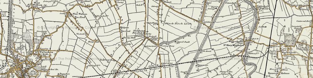 Old map of Tilney Fen End in 1901-1902