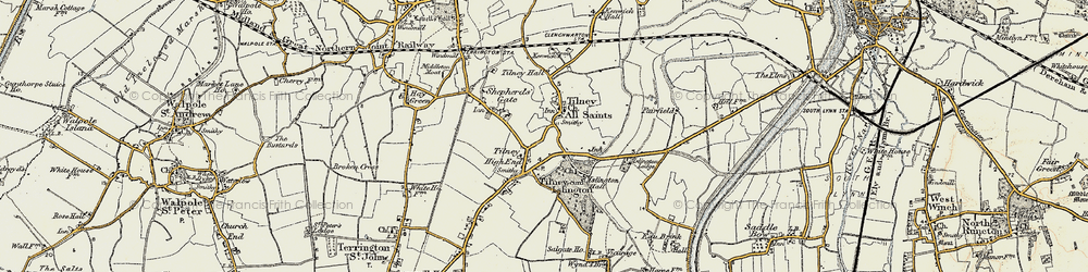 Old map of Tilney High End in 1901-1902
