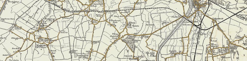 Old map of Tilney High End in 1901-1902