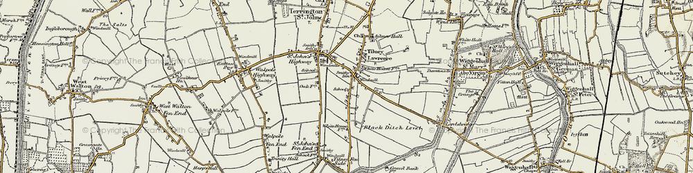 Old map of Tilney St Lawrence in 1901-1902
