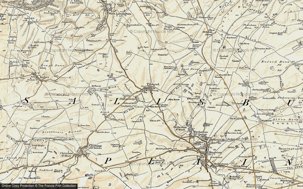 Old Map of Tilshead, 1898-1899 in 1898-1899