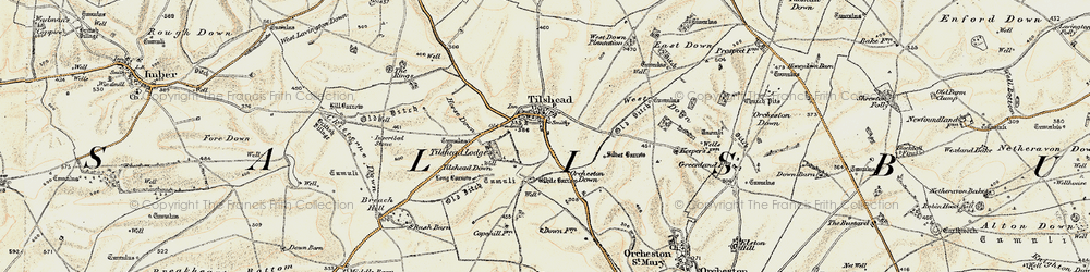 Old map of Tilshead in 1898-1899