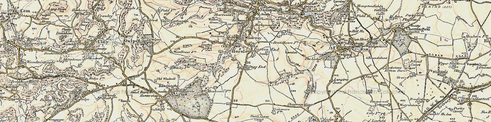 Old map of Tiltups End in 1898-1900