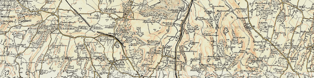 Old map of Timberden Bottom in 1897-1898