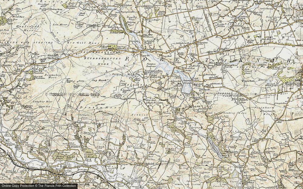 Old Map of Historic Map covering Timble Gill Beck in 1903-1904