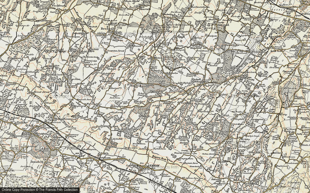 Old Map of Historic Map covering Wrinsted Court in 1897-1898