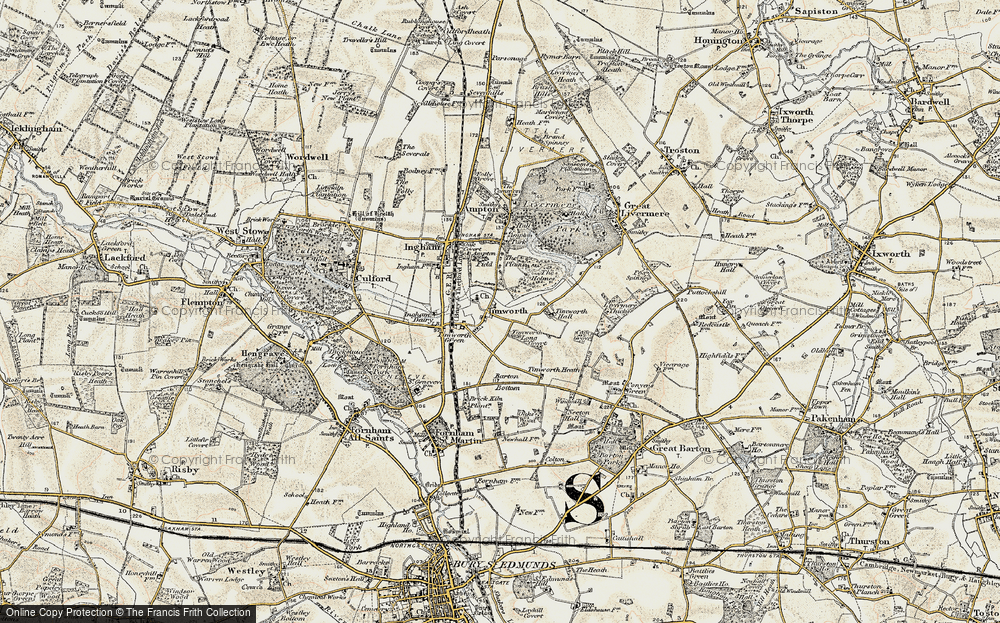 Old Map of Historic Map covering Timworth Hall in 1901