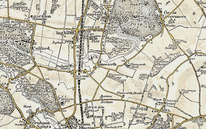 Old map of Timworth Hall in 1901