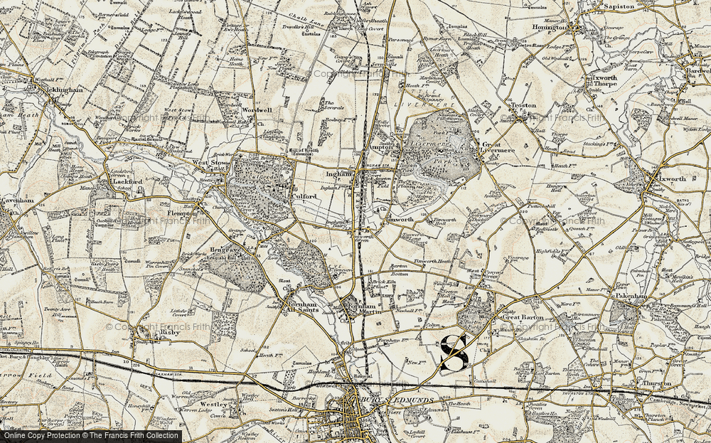 Old Map of Timworth Green, 1901 in 1901