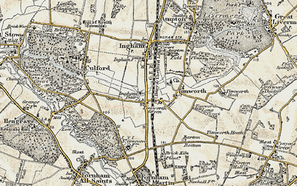 Old map of Timworth Green in 1901