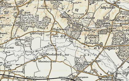 Old map of Woodsford Lower Dairy in 1899-1909