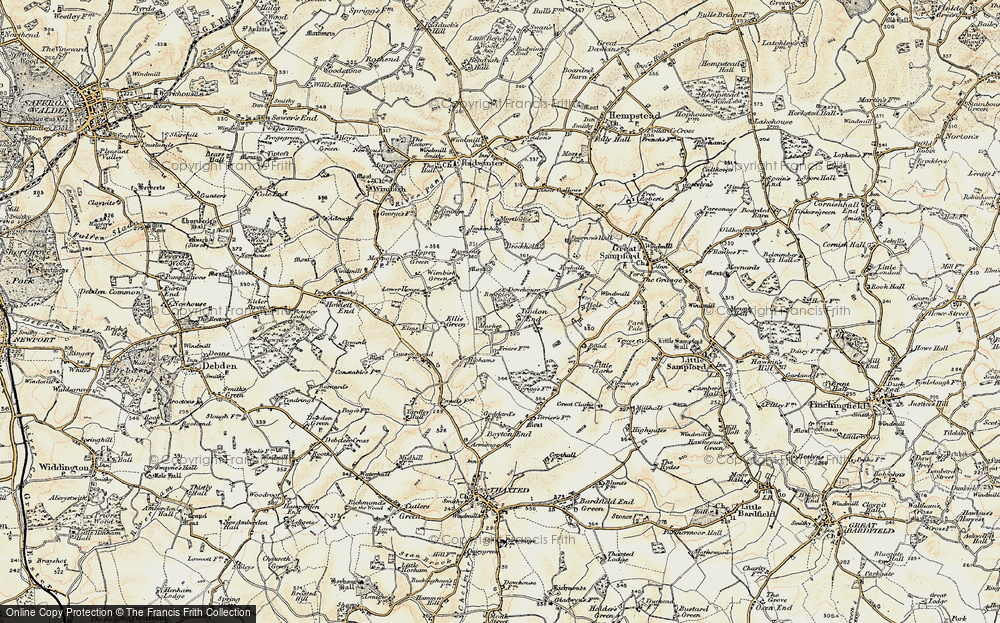 Old Map of Tindon End, 1898-1901 in 1898-1901