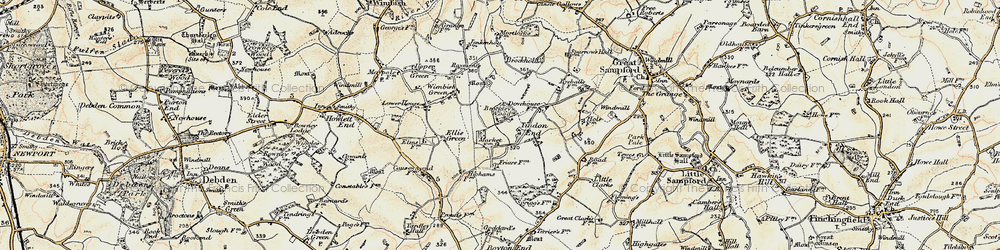 Old map of Tindon End in 1898-1901