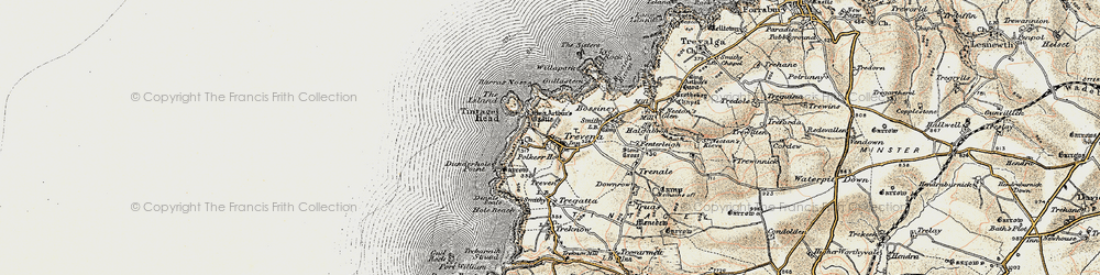 Old map of Tintagel Head in 1900
