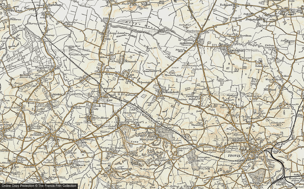 Old Map of Historic Map covering Tintinhull Ho in 1899