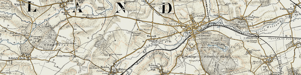 Old map of Tinwell in 1901-1903