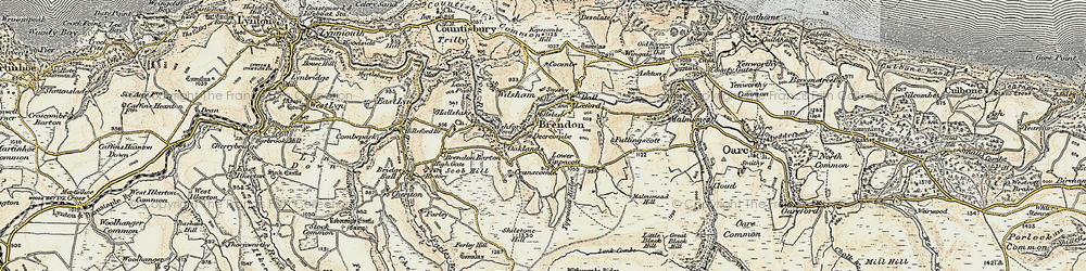 Old map of Tippacott in 1900