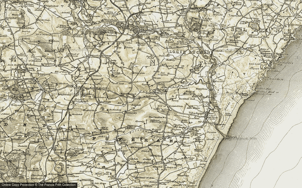Old Map of Historic Map covering Auchnacant in 1909-1910
