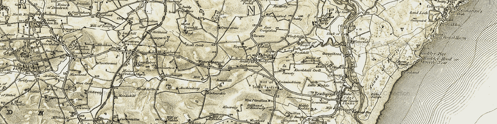 Old map of West Pitmillan in 1909-1910
